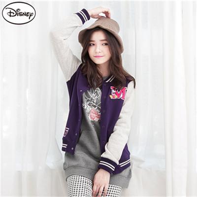 【迪士尼♥限時6折】 迪士尼超保暖刷毛系列~M字米奇棒球外套‧女3色
