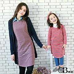 1022新品 親子裝系列~條紋開岔下襬雙口袋圓領洋裝.4色