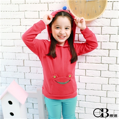 【可愛童裝♥單件8折】 俏皮活力~小青蛙/蘋果口袋耳朵連帽上衣.童2色