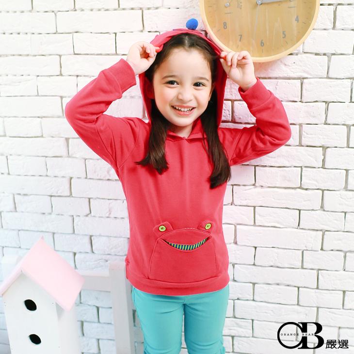 0603新品ob褲 俏皮活力~小青蛙/蘋果口袋耳朵連帽上衣.童2色