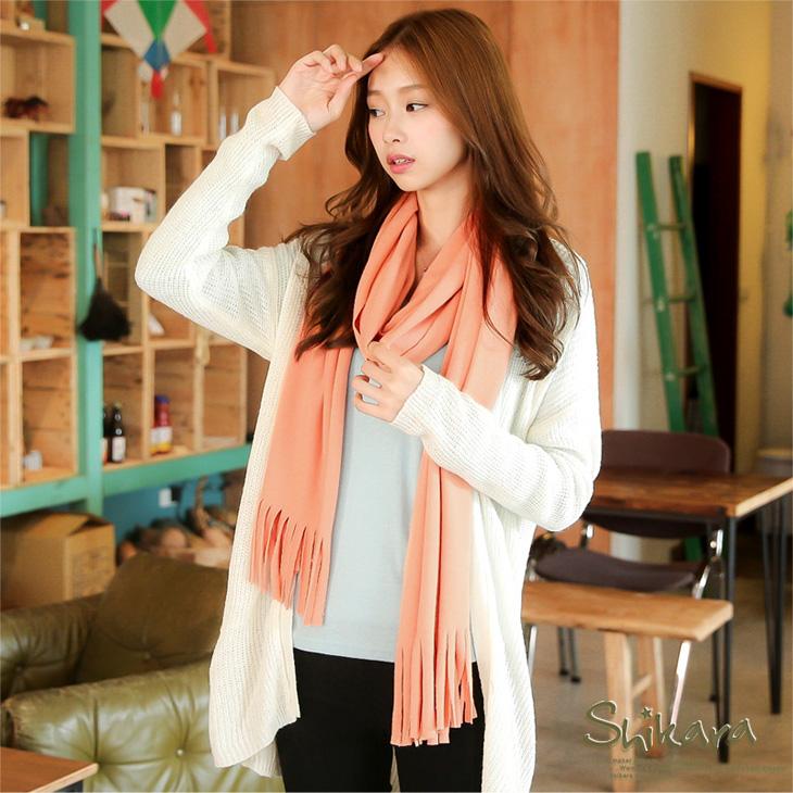 0209新品 輕甜暖意~素色柔軟ob購物網面料流蘇圍巾.5色