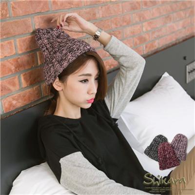 0129新品個性巧搭~雙色混織反折設計針織毛帽.3色