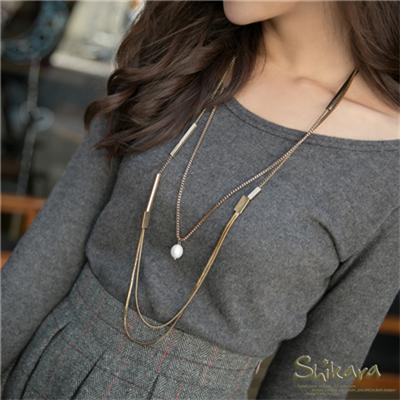 【浪漫飾品♥2件8折】 優雅時尚~幾何層次mix珍珠墬飾雙圈項鍊.2色