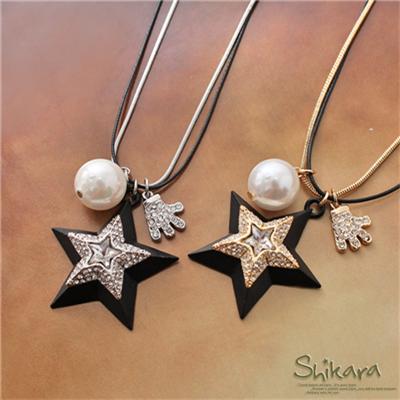0107新品【特價款】閃動耀眼~水鑽星星珍珠層次雙圈項鍊.2色