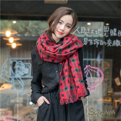 0123新品 甜心好搭~雙面格子設計流蘇圍巾.2色