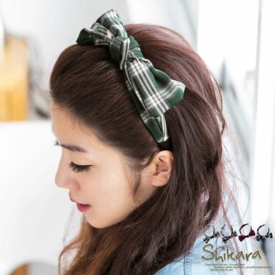 【搶殺!百搭任選$99】 英倫風範~格紋立體蝴蝶結造型髮箍.4色