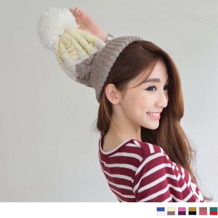 0219新品 【特價款】 三層撞色球球造型毛帽?ob購物網6色