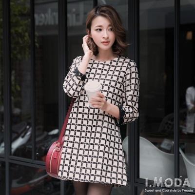 典雅魅力~黑色緹花格紋布蕾絲袖口長版上衣
