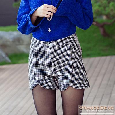 時髦主義~菱格紋打摺修身鬱金香下襬短褲.2色