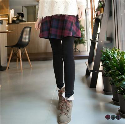 0623新品 英倫學院~配色格紋裙擺假兩件式內搭褲•3色