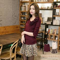 1118新品 淑女專屬~立體玫瑰花裝飾兩件式碎花裙洋裝‧2色