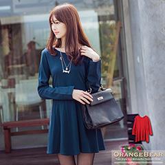 1121新品 雅緻主義~素色高腰兩側抽繩圓領長版上衣.2色