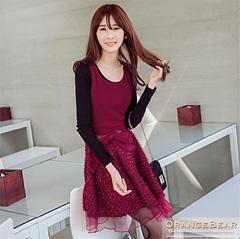 1120新品 甜心浪漫~附腰帶凸面料拼接雙層質感紗料無袖洋裝.2色