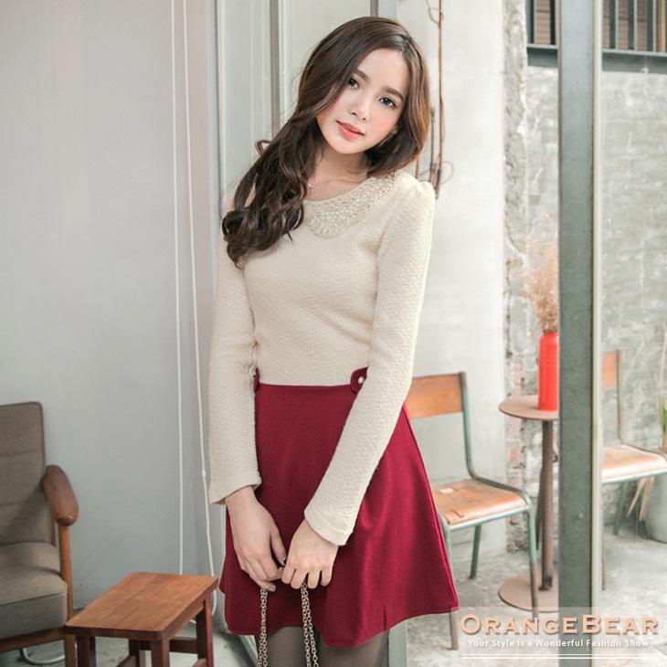 1119新品 氣質美型~質感仿毛料拼下襬珍珠娃娃領洋裝.2色