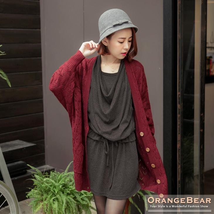 清幽格調~ob大尺碼衣服素色雙層垂墬感設計抽繩長版上衣.2色