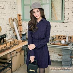 1126新品 氣質風情~格紋開襟設計高腰鬆緊洋裝.3色