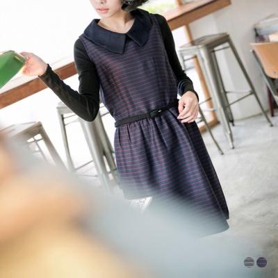 唯美輕盈~附腰帶花瓣尖領橫條紋高腰背心洋裝.2色