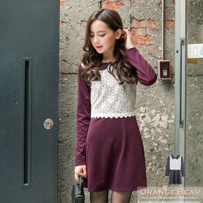 高雅主義~素色拼接布蕾絲娃娃領長版上衣.2色