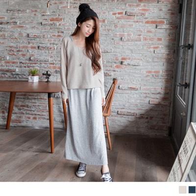 百搭魅力~兩件式質感彈性仿毛料連袖長版洋裝.2色