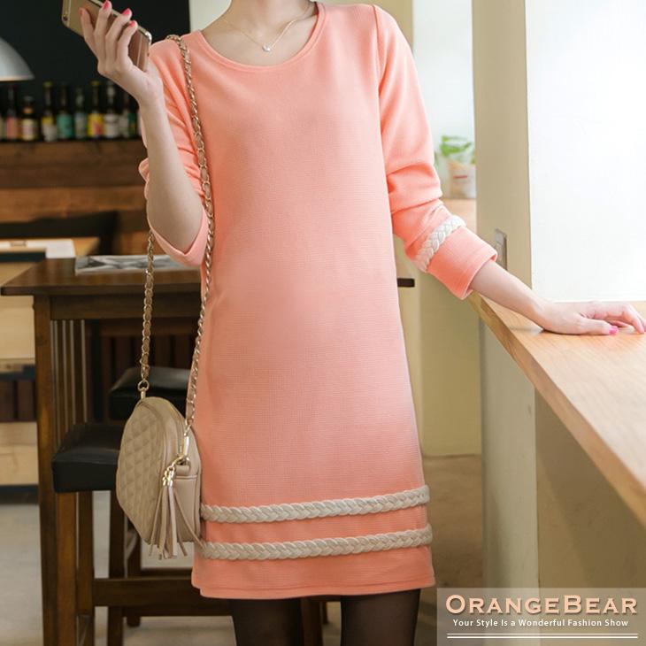 甜美法式~質感面料X編織麻花邊長版上衣.2色