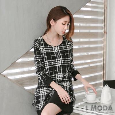 0120新品 經典高雅~假兩件式格紋雙口袋拼立體橫條織紋洋裝.2色