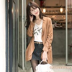 1121新品 溫柔風韻~仿皮絨開襟垂墬感雙口袋長版外套.3色