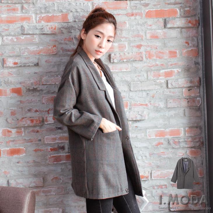 品味風尚~格紋仿毛料落肩翻領長版西裝外套.2色