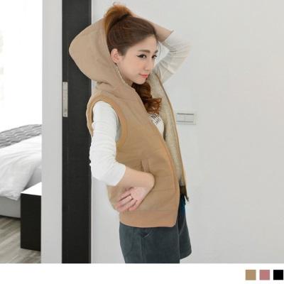 1210新品 內鋪毛橫條壓紋連帽羅紋拉鍊背心.3色