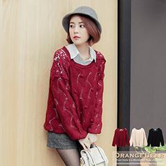 0128新品 可愛巧思~立體圓球設計拼布蕾絲連袖針織上衣.3色