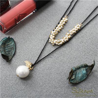 【浪漫飾品♥2件8折】 氣質搭配~顆單珍珠mix珠珠串雙圈項鍊