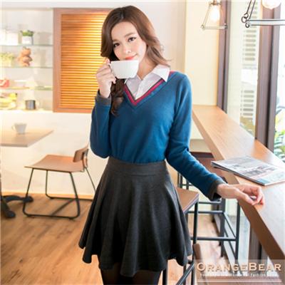 氣質女孩~配色襯衫領假兩件長版上衣.2色