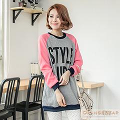 0128新品 Sporty女孩~活力感字母厚刷毛長版棒球T恤‧2色
