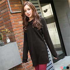 1219新品 清亮雅緻~素色質感仿毛料尖領落肩袖長版上衣.3色