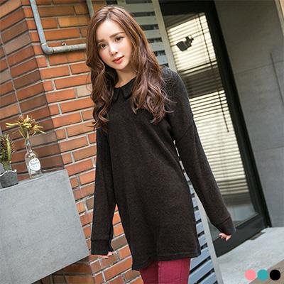 清亮雅緻~素色質感仿毛料尖領落肩袖長版上衣.3色