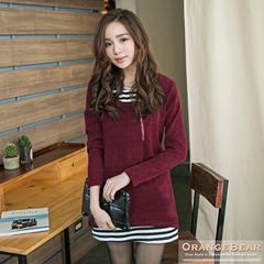 1216新品 輕甜風格~假兩件式仿毛料X條紋層次長版上衣.4色