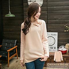 0129新品 浪漫細膩~仿毛料袖異材質拼接蝴蝶結珠飾上衣.2色