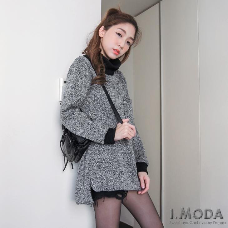 時尚架勢~混色毛料mix羅紋鬆高領前短後長上衣