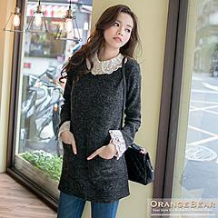 0412新品 甜美風潮~質感仿毛料拼布蕾絲領/袖口長版上衣.2色