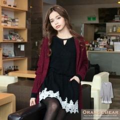 0128新品 氣質品味~鏤空領口混羊毛料拼布蕾絲縮腰長版上衣.2色