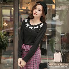 0128新品 甜美女伶~質感面料珍珠布蕾絲蝴蝶結裝飾上衣.2色