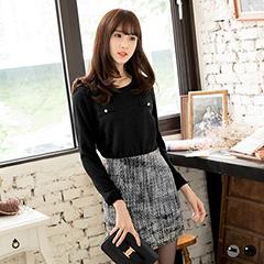 0128新品 細膩秀麗~質感織紋異材質面料珍珠點綴上衣.2色