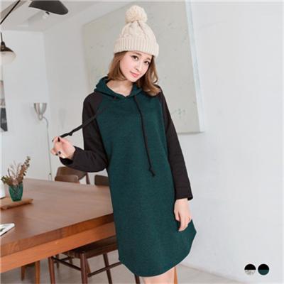 0304新品 素雅風格~仿毛料拼棉質長袖內刷毛連帽洋裝.2色