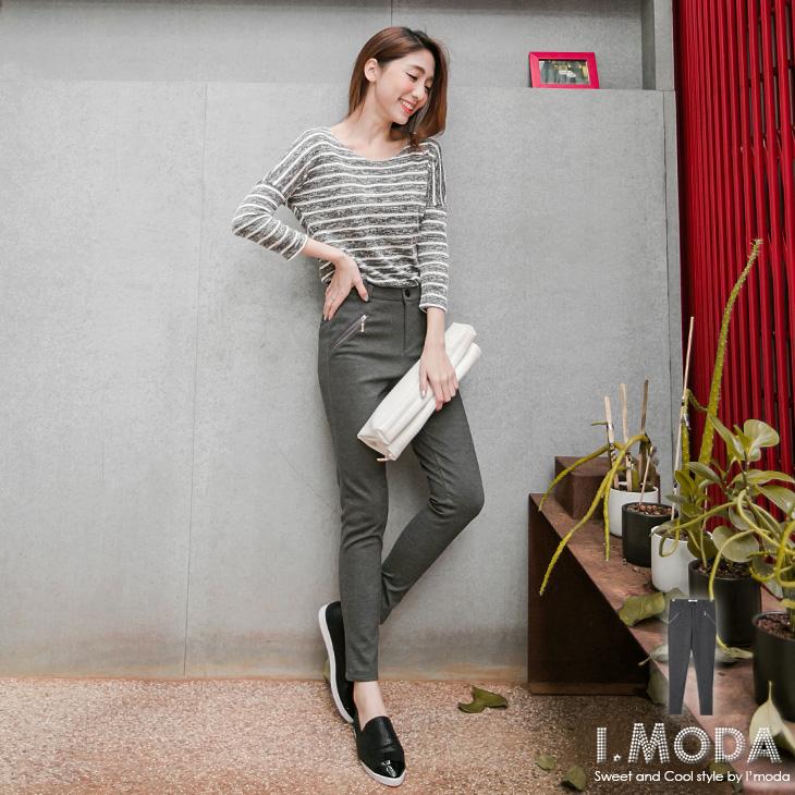 休閒美型~率性舒適斜開拉鍊ob嚴選品牌修身窄管褲.2色