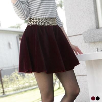 高貴雅緻~金色編織寬腰帶仿水貂毛短裙.2色