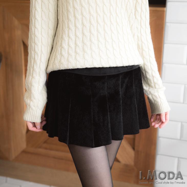 高雅俏麗~異材質彈性腰頭拼接仿馬毛短裙.2色