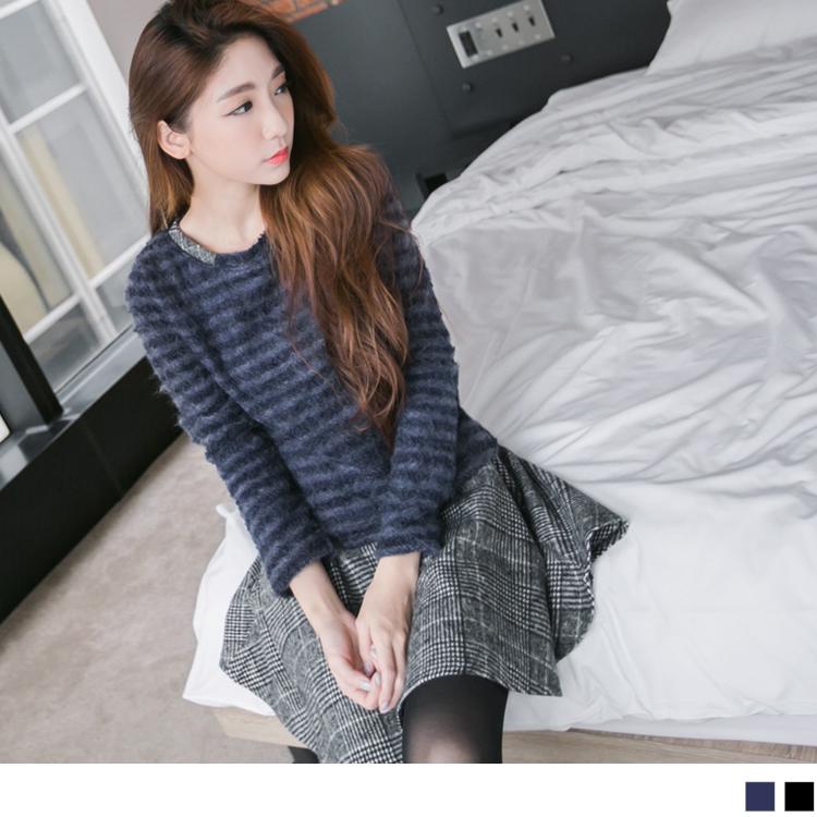 1204新品 假兩件混紡毛料下擺格紋洋裝.2色