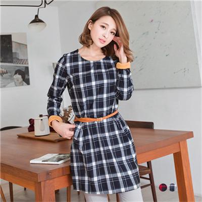 0209新品 格緻女伶~異材質反折袖X經典格紋洋裝(附皮帶).2色