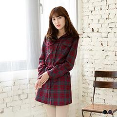 0212新品 復古格調~附腰帶經典格紋襯衫式洋裝.2色