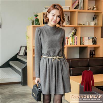 絕美姿態~小立領素色質感面料縮腰雙口袋洋裝.2色