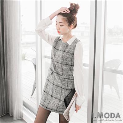 典雅魅力~格紋混羊毛雙口袋側拉鍊長版上衣.1色